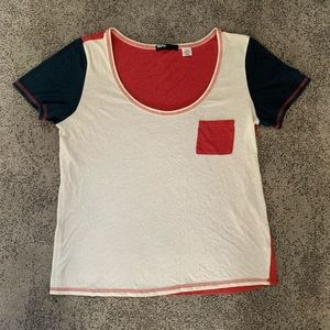 BDG | Red, White, and Blue Color Block T Shirt